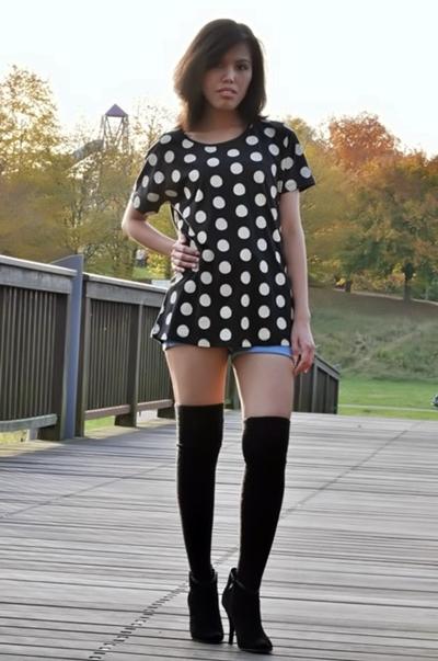 My Outfit Polka Dot Tunic Top With Knee High Socks Creative Fashion