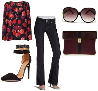 sophisticated look with high-waist flare jeans