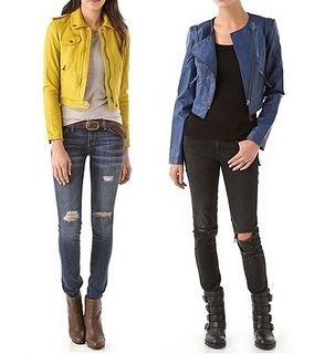 wear moto biker jacket with tattered jeans