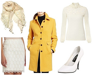 yellow coat with lace turtleneck