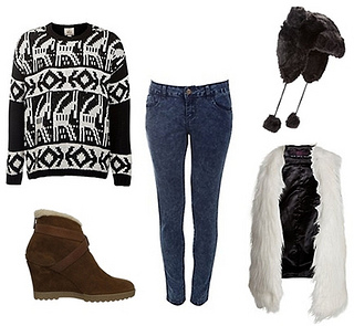 Chalet Girl Inspiration Aztec Knitted Jumper Outfit