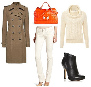 Military Coat over Knitted Sweater and White Jeans
