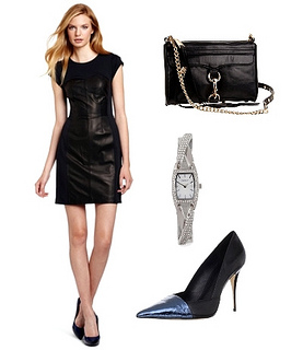 Rebecca Taylor Womens Combo Bustier Leather Dress
