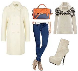 White Coat over Knitted Sweater and Blue Pants