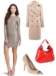 Womens Faux Leather Sportswear Dress