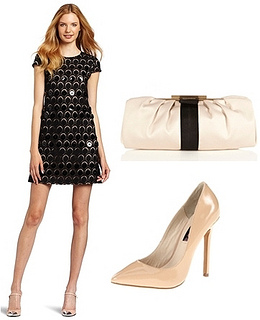 Womens Lace Dress with Patent Circle Detail
