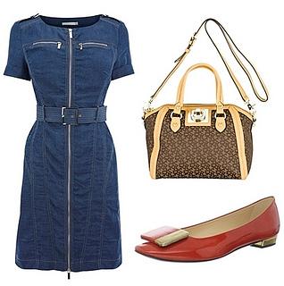 denim dress with buckled flat shoe