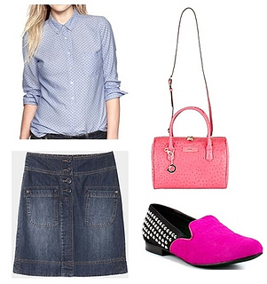 dotted shirt with denim skirt