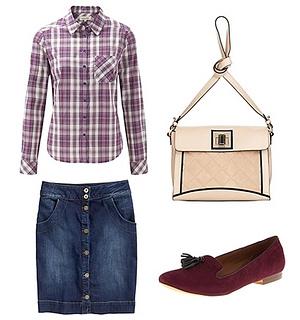 plaid shirt with denim skirt