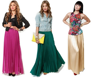 how to wear pleated long skirt