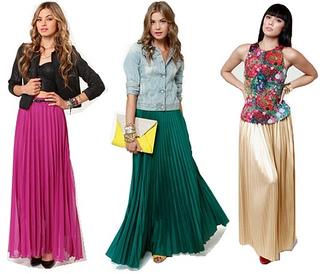 Long Pleated Maxi Skirt