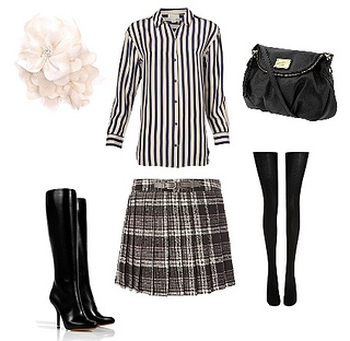 wear checked skirt with stripe shirt