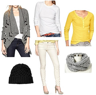 winter outfit - drape sweater and white jeans