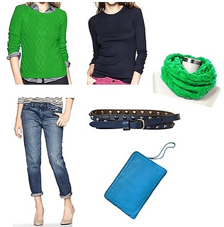 winter outfit - green sweater and jeans layering
