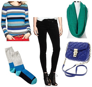 winter outfit - striped sweater and black pants