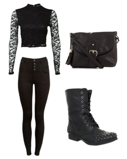 Black Lace Top and High Waist Skinny Jeans