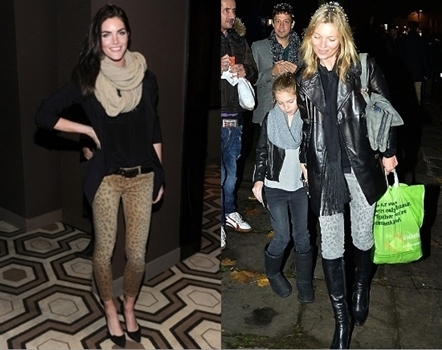 Danielle Lineker and Kate Moss Wearing Current Elliott The Stiletto Leopard Jeans