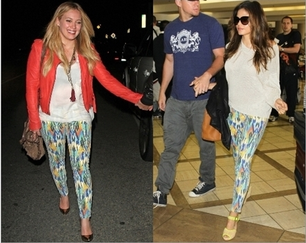 Hilary Duff and Jenna Dewan Wearing Current Elliott The Stiletto in Multi Arrow Jeans