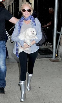 Kristin Chenoweth wearing silver rain boots