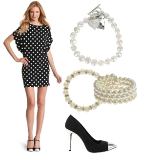 Polka Dot Dress with Pearl Accessory