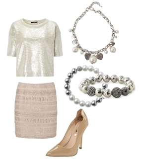 Sequined Outfit with Pearls