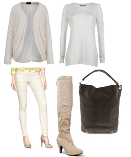 Sparkle Cardigan with Taupe Over the Knee Boots
