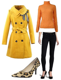 Yellow Slim Trench Winter Coat