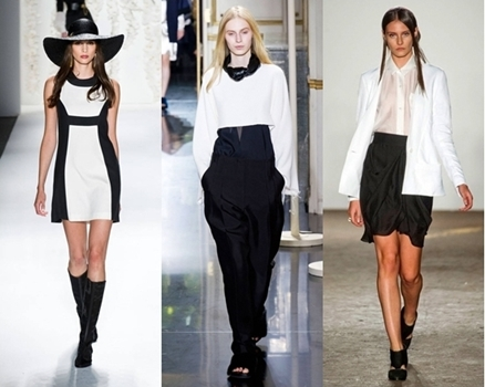 black and white monochrome outfits spring runway 2013