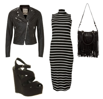 black leather biker jacket over striped dress