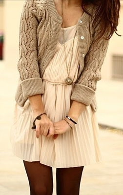 cardigan over pleated dress