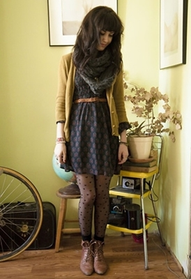 cardigan over printed dress
