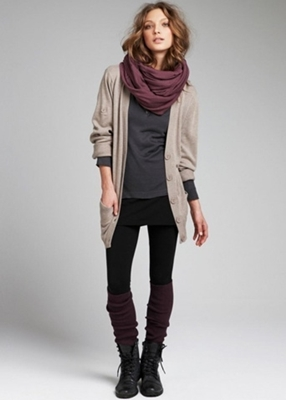 cardigan with knee socks and lace up boots