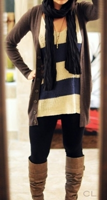 cardigan with knitted sweater and riding boots