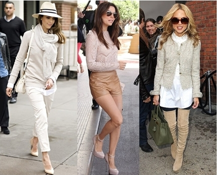 celebrities wearing neutral mix