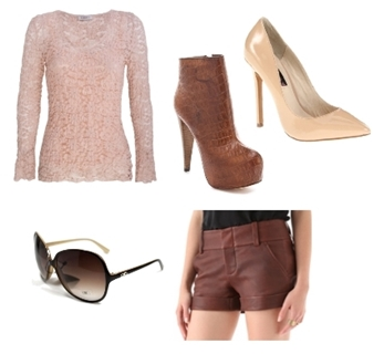 lace top with leather shorts
