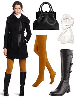 mustard tights with black coat and riding boots
