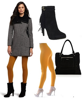 mustard tights with houndstooth coat winter look