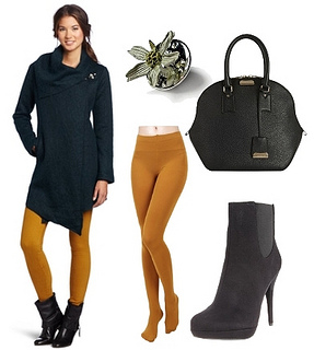 mustard tights with wrap around coat