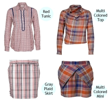plaid top and plaid mini skirt