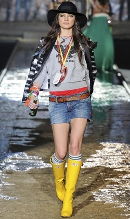 rain boots with denim shorts for spring