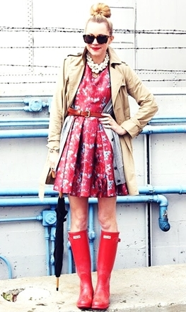 rain boots worn with printed dress and trench coat