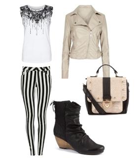 Black Striped Skinny Jeans