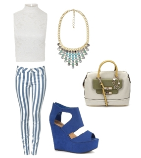 Blue Candy Striped Skinny Jeans