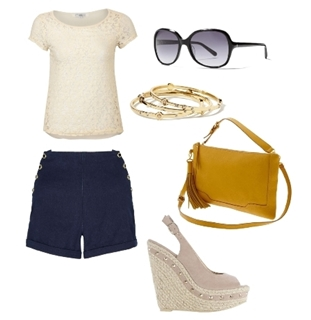Lace Top with High Waist Denim