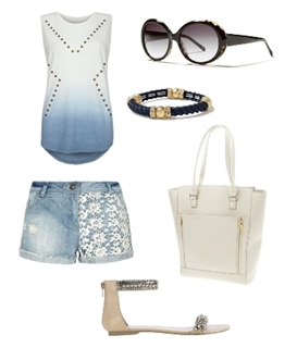Light Blue Wash Crochet Denim Shorts