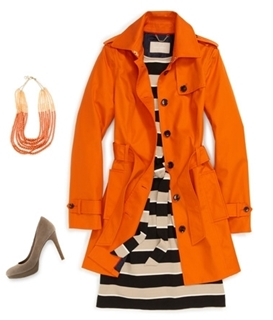 bold orange trench coat