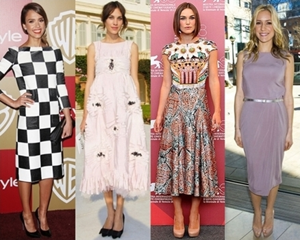 celebrities wearing midi dresses