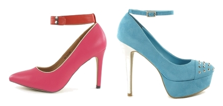 Colored Ankle Strapped Pumps