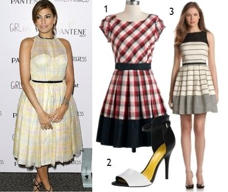 Eva Mendes Patterned Fit and Flared Dress