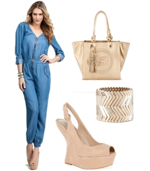V-Neck Roll Up Sleeve Jumpsuit
